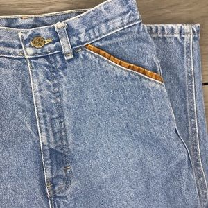 Vintage blue bay mom style jeans high waisted with leather trim size 0/2